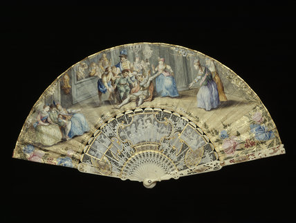 Late C18th paper fan painted with scene from Commedia del Arte