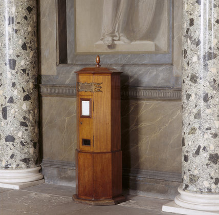 The old wood post box in the Entrance Hall at Attingham Park
