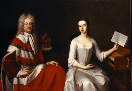 2nd EARL OF WARRINGTON AND HIS DAUGHTER by Michael Dahl (1656-1743) from Dunham Massey