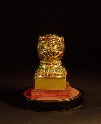 The Tipus Tiger Head from the Clive Museum a Powis Castle, engraved and set with rubies, diamonds and emeralds