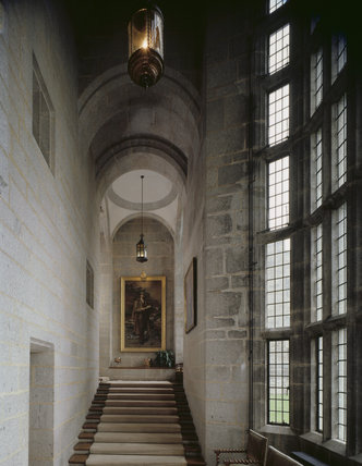 The Main Stairs towards the portrait of Julius Drewe at Castle Drogo