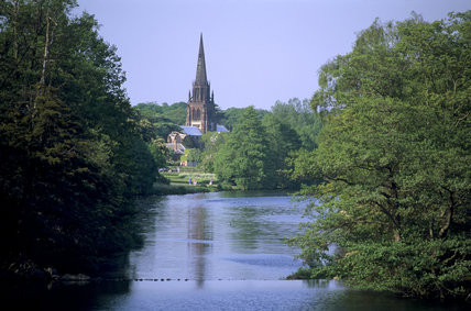 View of Clumber Chapel from the bridge, across the lake