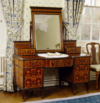 Marquetry dressing table in the North Room at Standen