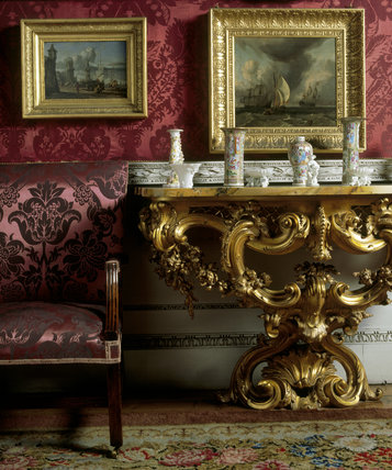 Neo-rococo table with inlaid marble top in the Cabinet, Felbrigg with several pieces of porcelain placed on the top