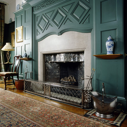 The fireplace designed by Webb in the Dining Room at Standen