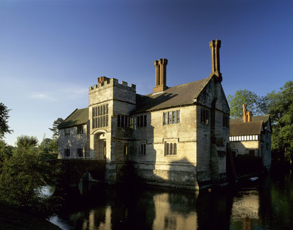 A view of the north east corner of Baddesley Clinton showing the Gatehouse Bridge