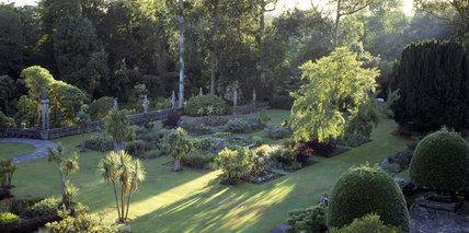 A view overlooking the Italian Garden at Mount Stewart with the Spanish Garden