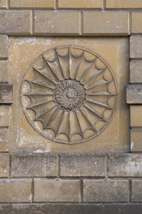 Decorative stonework detail on The Queen's Temple