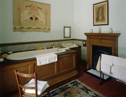 The late C19th. Nursery Bathroom, with the wood sided bath tub and ...