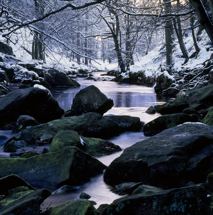 Hebden Water running along its rock strewn bed, between the snow covered, tree lined, banks