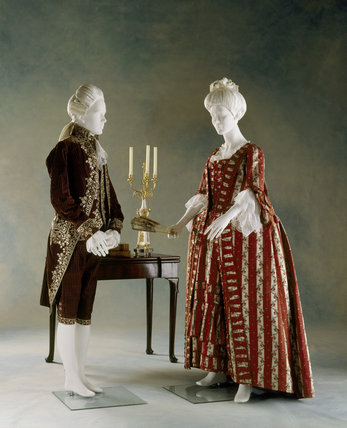 Gentleman's Court Suit, 1770s, striped velvet embroidered with white flowers and leaves