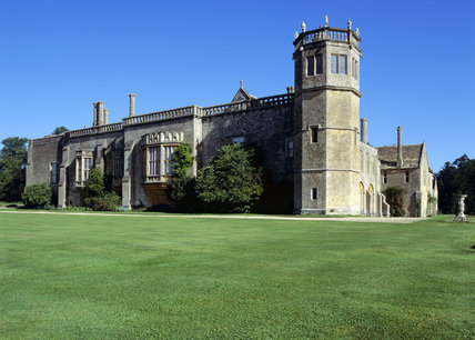 Founded in 1232, the south side of the Abbey with tower and chimneys containing 18th century Gothic hall