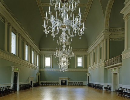 General view of the Ballroom, restored in the 1990s, and of the Chandeliers by William Parker, 1771