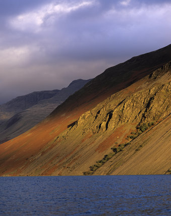 View of the impressive scree slopes at Wasdale, Cumbria, in autumnal afternoon light