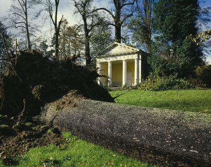 View of a fallen tree infront of the Doric Temple in the Pleasure Ground after the Storm of October 1987