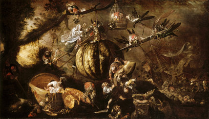 A BIZARRE LANDSCAPE WITH GROTESQUE DWARFS AND MELONS by Faustino Bocchi at Scotney Castle