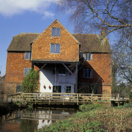 View of the 18th century watermill on the Tillingbourne at Shalford Mill