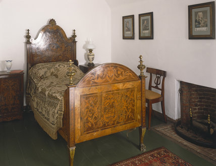 This shows the North East Bedroom, with its Flemish C18th bed