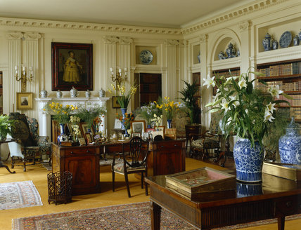 Room view of the Library which is decorated in a neo-classical style