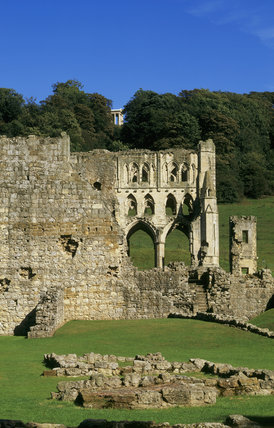 View of Rievaulx Abbey (English Heritage) with glimpse of the Ionic Temple above