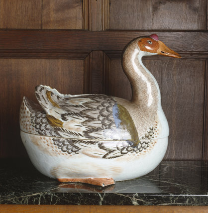 A close-up detail of a Chinese porcelain goose-tureen by qianlong, c.1780. in the Hall at Polesden Lacey.