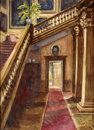 THE GRAND STAIRCASE AT LYME PARK, a watercolour by Dulcibella Legh (also known as Sybil) and dated 1898