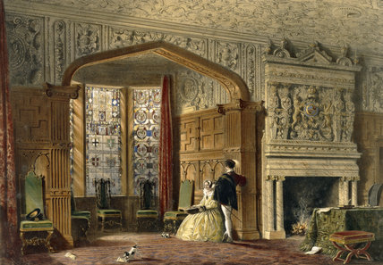 Coloured lithograph of the Drawing Room at Lyme from J