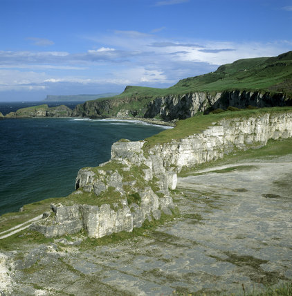 View of Larrybane Quarry looking east with Fairhead and Carrick- A-Rede in the distance