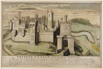 Print of Tutbury Castle in Staffordshire dated 1733