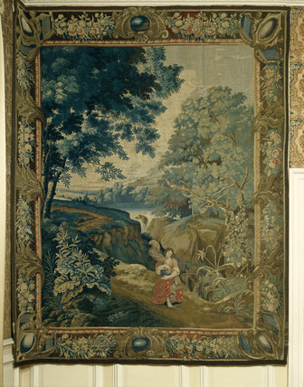WOMAN WITH A JEWEL CASKET, a Flemish tapestry of the 17th century which hangs in the Morning Room at Lyme Park