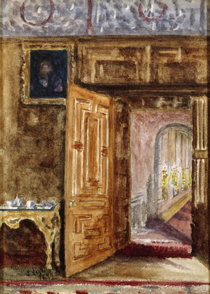 VIEW FROM THE DRAWING ROOM TO THE BRIGHT GALLERY NORTH, a watercolour by Dulcibella Legh (also known as Sybil) and dated 1898