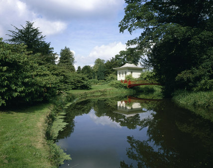 The Red Bridge and Chinese House in the grounds of Shugborough