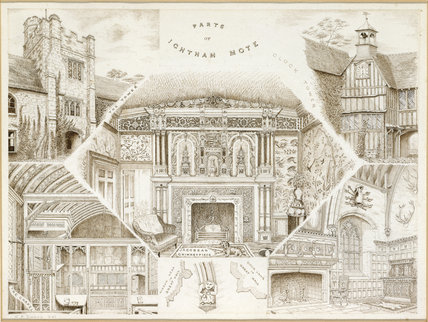 An engraving entitled 'PARTS OF IGHTHAM MOTE' which features the Clock Tower, a coat of arms in the Great Hall, The Tower, The Chapel and a Jacobean Chimneypiece