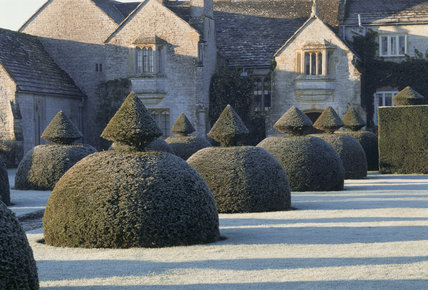 View of the garden at Lytes Cary Manor, Somerset, taken, in the winter
