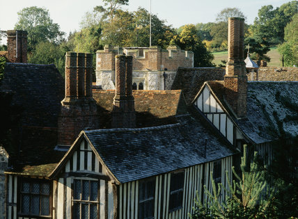 Roofscape of half-timbered houses viewed from the north, at Ightham Mote