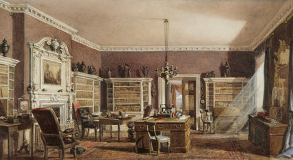 INTERIOR OF THE LIBRARY AT WAVENDON, British school c. 1840