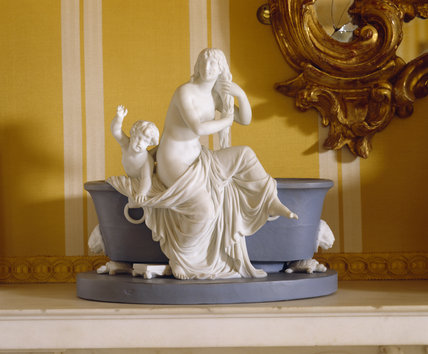 Sevres blue, Jasper group in Wedgwood style with Venus and cupid in biscuit in the north drawing room at Hinton Ampner