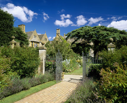 View to the Old Garden and manor house at Hidcote, near Chipping Campden, Gloucestershire