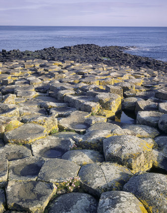 View of the polygonal stacks leading down to the sea at the Giant's Causeway