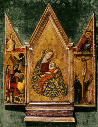 THE MADONNA AND CHILD (Triptych) by Francescuccio Ghissi (active 1359-1395) the side panels depict the scene in the stable and the crucifixion