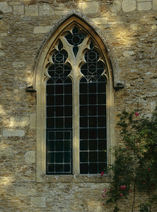Detail of the window in the West Front of Lacock Abbey,