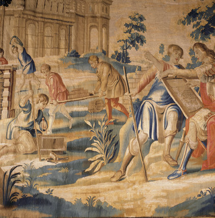 Detail Of One Of Four Mortlake Tapestries Telling The