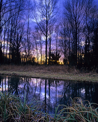 Common Marsh, near Stockbridge, Hampshire, on a winter's evening after a storm