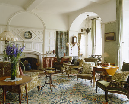 The Drawing Room at Standen, West Sussex, showing the hand-knotted wool carpet designed by J.H.Dearle and the fireplace designed by Webb.