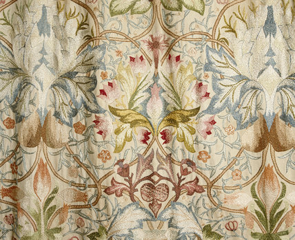 Close view of silk embroidered wall hanging in the North Bedroom at Standen, West Sussex