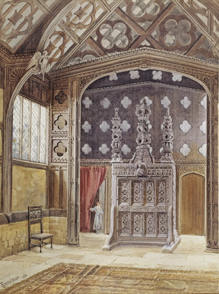 INTERIOR OF THE GREAT HALL, RUFFORD by Greenhalgh at Rufford Old Hall