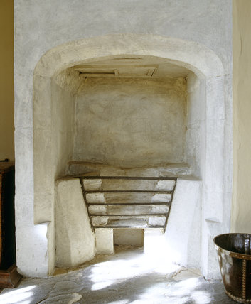 The fireplace in the Grey Lady's Chamber at East Riddlesden Hall, West Yorkshire