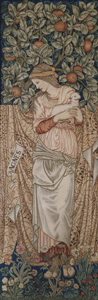 St Agnes, a tapestry by Morris & Co after a painting by Burne-Jones, showing St Agnes standing under a fruit tree, holding a lamb