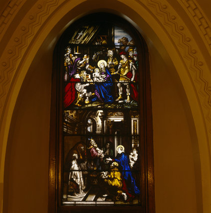 A stained glass window in the Chapel by David Evans of Shrewsbury in 1830's