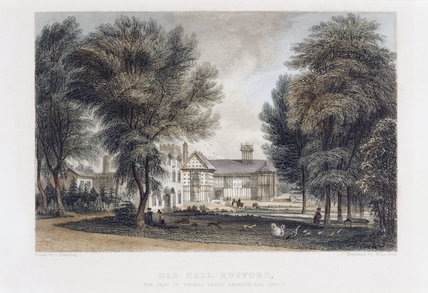 RUFFORD OLD HALL FROM THE NORTH-WEST, ABOUT 1840,  a handcoloured lithograph by W. Le Petit, after a drawing by George Pickering, Rufford Old Hall